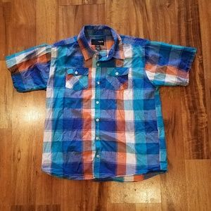 Hurley plaid button down shirt size XL.
